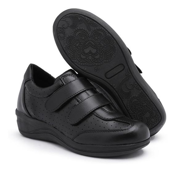 Sapato Tênis Feminino Salto Anabela Confort Ortopédico Idosa