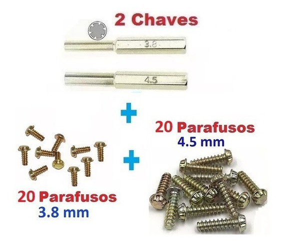 Snes - Kit Chaves 3.8 + 4.5mm + 20 Parafusos 3.8 E 20 4.5mm