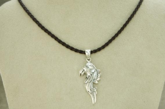 Colar Couro Cabeça Águia Bali Especial (l-10)prata 925