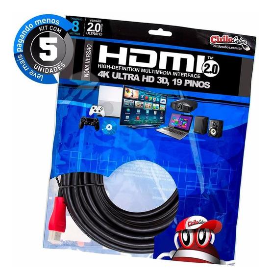 Kit Com 5 Cabos Hdmi 2.0 Premium Ultra Hd 4k, 8 Metros