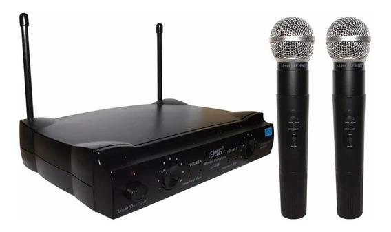 Microfone Sem Fio Duplo Profissiona Lelong Bivolt Le-906 Nf
