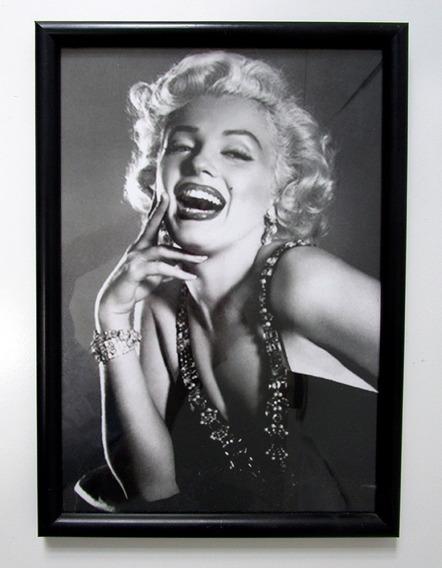 Moldura De Madeira E Vidro Com Foto De Marilyn Monroe