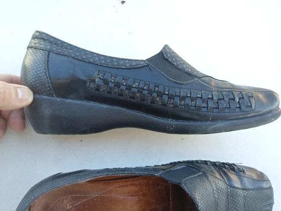 Zapatos Mujer Negros Cuero C Camara De Aire Bajos 38 /39