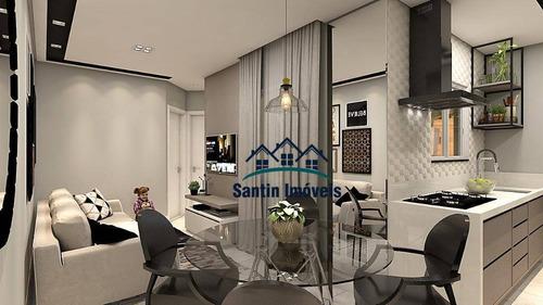 Cobertura Com 2 Dormitórios,50% Coberta + Lavabo,fino Acabamento À Venda, 85 M²  - Santa Maria - Santo André/sp - Co0453