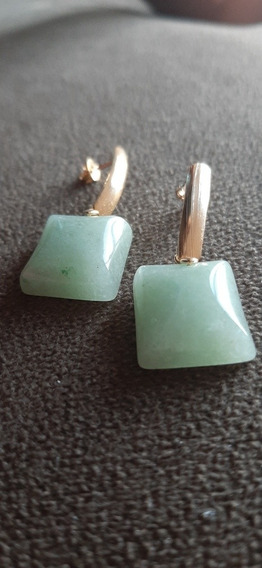 Brinco Quartzo Verde Pedra Natural