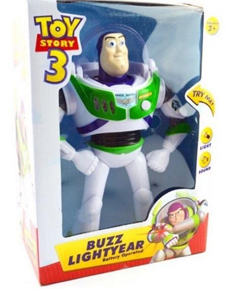 Toy Story Boneco Buzz Lightyear 25cm Com Luz E Som Em Inglês