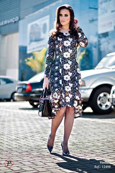 Vestido De Veludo Estampado Com Detalhe Em Babados Puro Sha