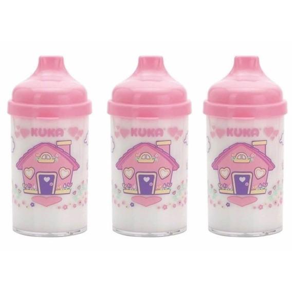 Kuka 6047 Copo Infantil Cristal Decorado Rosa (kit C/03)
