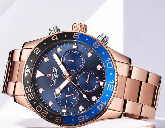 Relógio Masculino Naviforce Em Aço Inoxidável Mais Brinde.