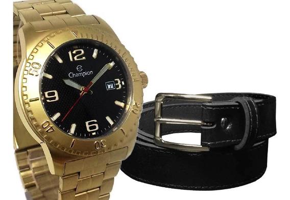 Relógio Champion Masculino Dourado Fundo Preto+cinto Social