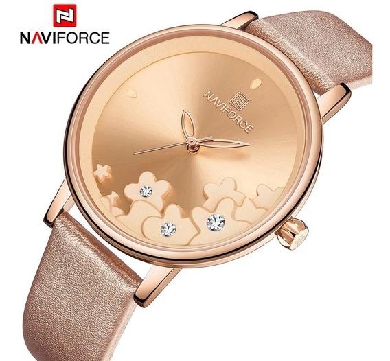 Relógio Feminino Naviforce 5012 Original Couro Rose