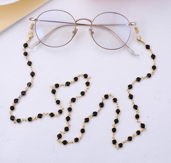 Cordão Para Óculos Pedras Pretas 70cm