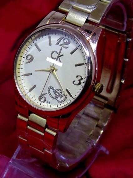 Relógio Ck Feminino Dourado Rosé Bonito Barato Elegante C285