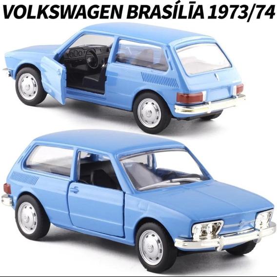 Miniatura Vw Brasília Azul Carrinho Coleção Brasileiros 1.43