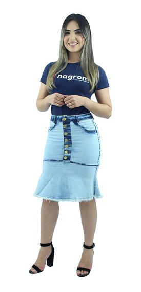Saia Jeans Moda Evangélica Babado Azul Céu Anagrom Ref.024