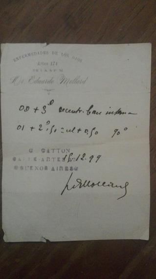 Receta Oculista 1899