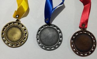 Medalla Metálica Lisa Con Estrellas Personaliza Con Etiqueta