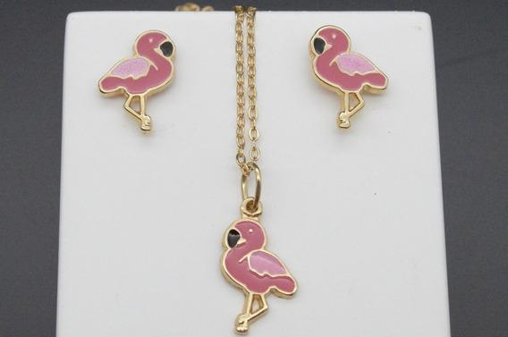 Conjunto Infantil Flamingo Brinco+colar Banhado À Ouro 18k