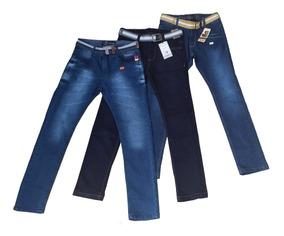 Kit 3 Calça Juvenil Infantil Jeans Masculina Com Regulagem