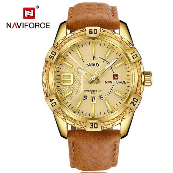 Relógio De Dourado Masculino Naviforce Com Pulseira De Couro