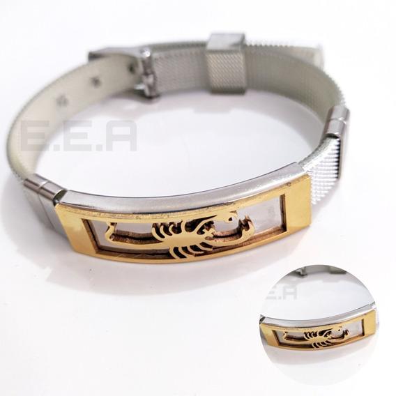 Pulseira Escorpião Masculina Dourada Cinza Bracelete Barato