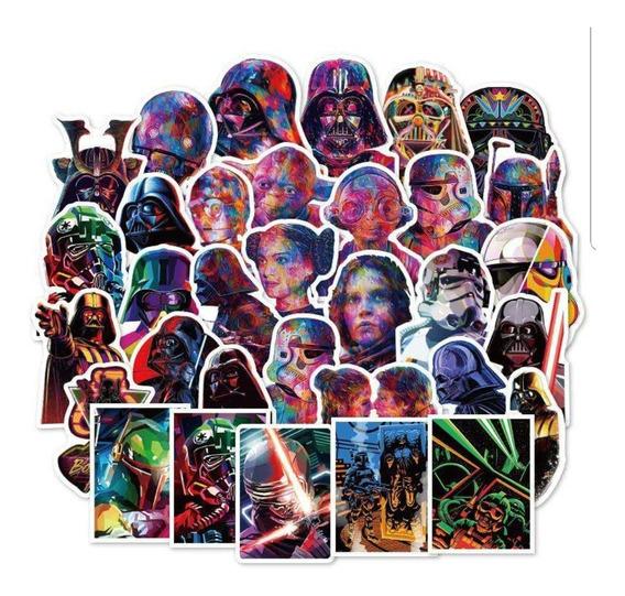 Star Wars 3 - 50 Calcomanias Stickers Mate Pvc Contra Agua