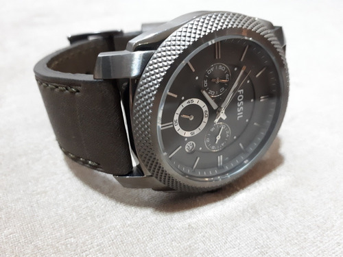 Relógio Masculino Original Fossil Pulseira De Couro Cinza
