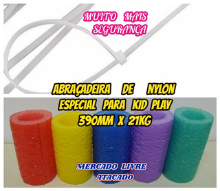 Abraçadeira De Nylon Branca 390mm Forte P/kid Play Kit C/200