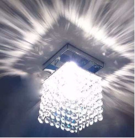 Luminária Teto Transparente Pedra Cristais Lâmpadas Brinde