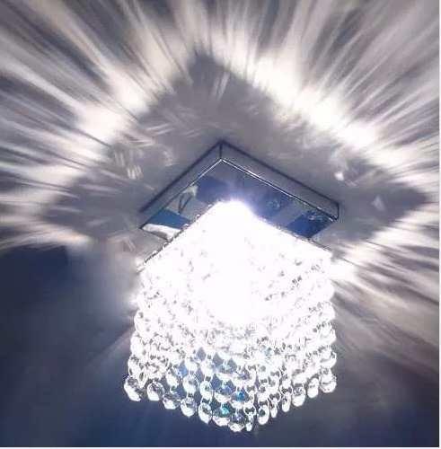Luminária Teto Transparente Pedra Cristais Lâmpada Brinde