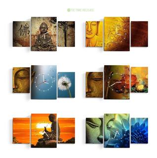 Reloj De Pared Triptico Buda Zen Orientales Arte Moderno