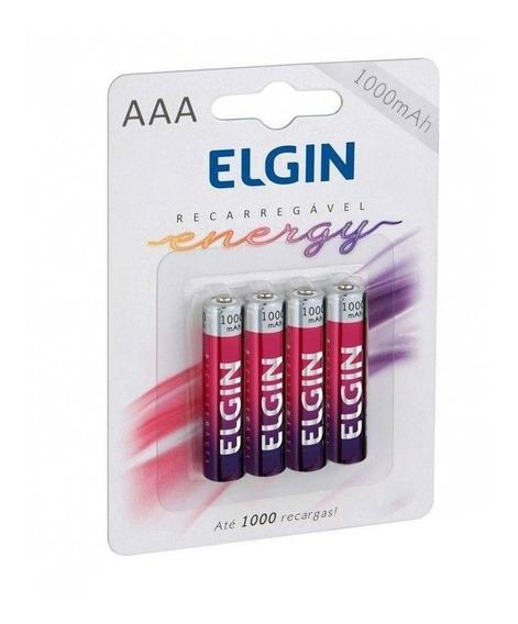 Pilha Recarregável Elgin Aaa 1000mah - Cartela Com 4 Pilhas