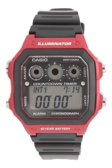 Relogio Casio Ae 1300wh-1/2/4 Quadrado Borracha Crono Timer
