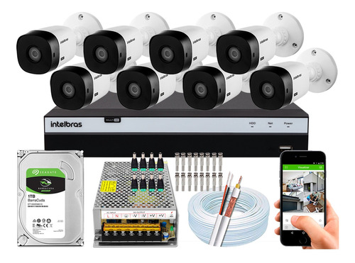 Kit Cftv 8 Câmeras Intelbras 1220b Full Hd 2mp Dvr 3108 1tb