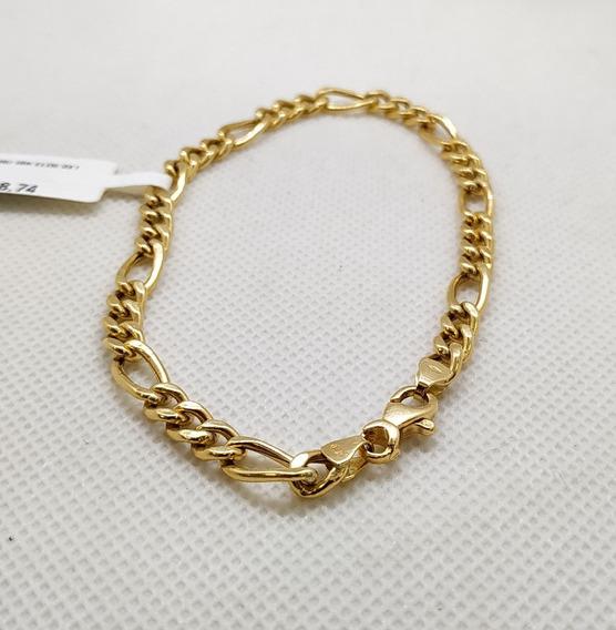 Pulseira Em Ouro 18k Elos 3x1 21cm 6,70g