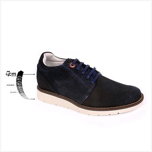 Zapato Casual Avenue Azul Max Denegri +7cms De Altura