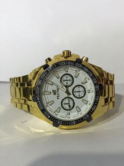 Relógio Tecnet Masculino 62628ch White Resistente A Água