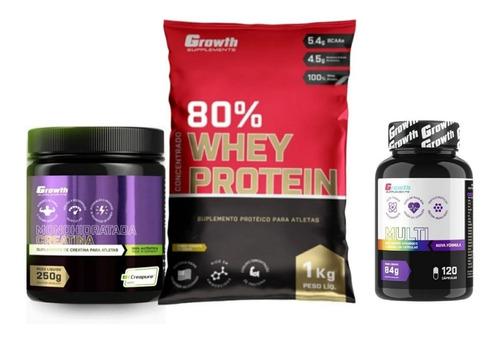Whey Protein 1 Kg + Creatina 250g + Multivitaminico 120 Caps