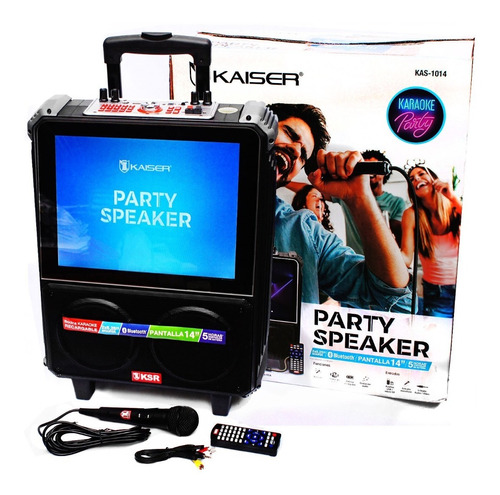 Karaoke Bocina Recargable Pantalla 14 Bluetooth Mic Usb Rec