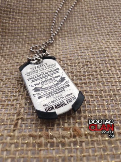 Dog Tag Dogtag Placa Plaqueta Mensagem Pai Para Filho