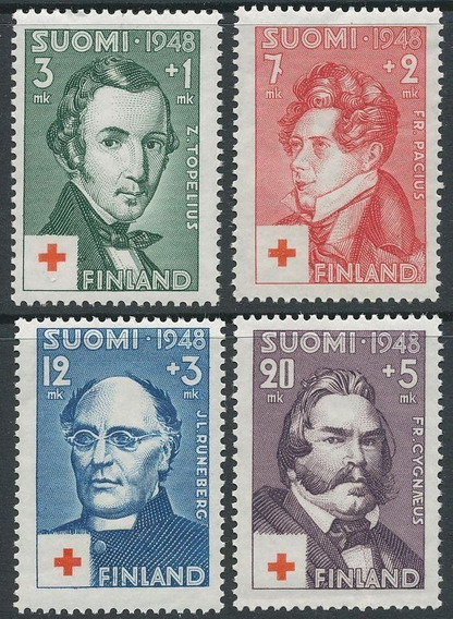 Finlandia 1948 Cruz Roja 4 Valores Serie Completa Mint