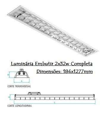 Luminária Embutir 2xt8 Led 18 Completa Com Reator E Lampada.