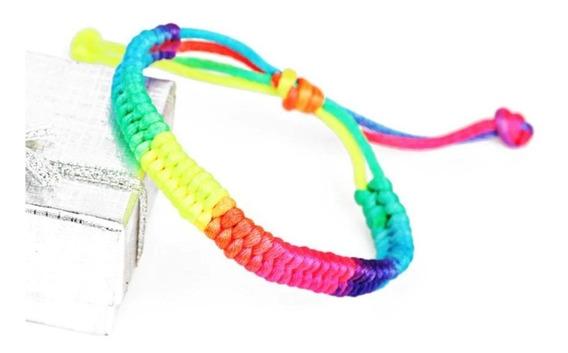 Pulseira Shambala 7 Chakras Rainbow Neon Ajustável