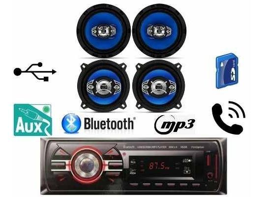 Kit Falante 5 E 6 Pol + Radio Usb Bluetooth Gol G4 G5 G6 Fox