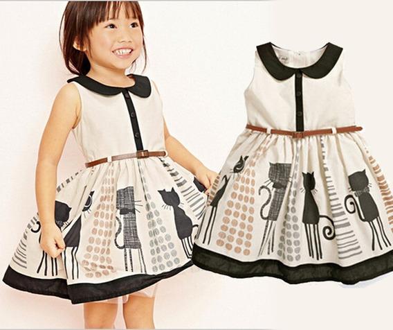 Vestido Infantil Para Meninas Estampado Bege E Preto C Cinto
