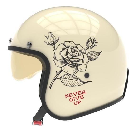 Casco Hawk 721 Never Give Up Beige-negro-rojo Motocity