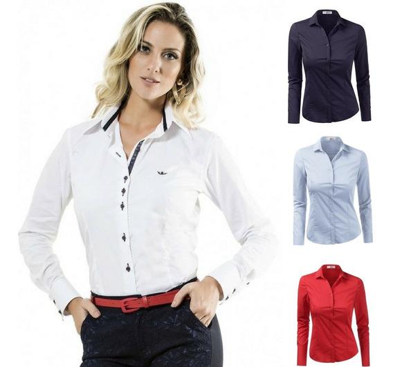 Camisa Camisete Social Feminina Slim Pronta Entrega 2020
