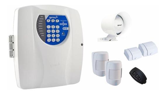 Kit Alarme Com Discadora Genno 4 Sensores+controle+sirene