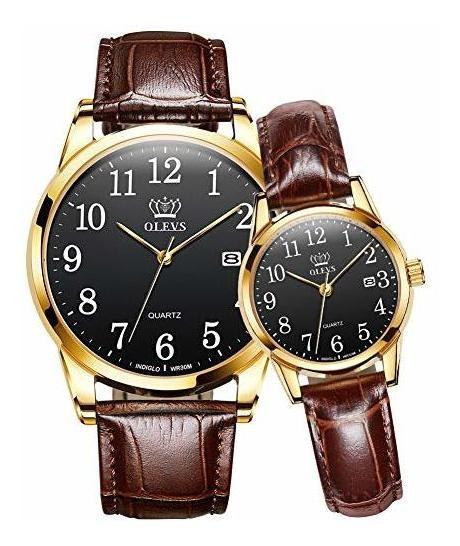 Olevs - Juego De 2 Relojes Para Parejas Para Hombres Y Mujer
