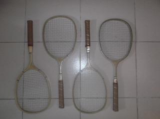 Set De 4 Raquetas Vintage De Madera Badminton,crown Bac-rac.